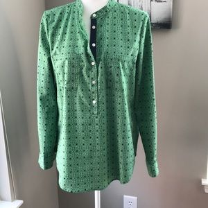 Joe Fresh Green Print Pullover Blouse w/ blue trim